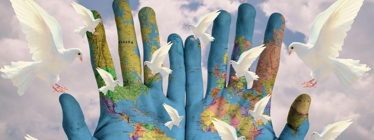 Frieden Tauben Hände